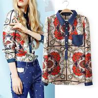 European Style 2014 Autumn new women blouse fashion jeans chiffon stitching retro palace totem printing long-sleeved shirt tide