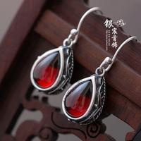 Silver jewelry LAOYINJIANG handmade garnet zirconium earrings 925 pure silver drop earring