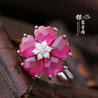 Silver jewelry LAOYINJIANG 925 pure silver red corundum ring Women