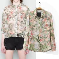 2014 autumn new women shirt European style retro shirt pocket landscape printing long-sleeved chiffon blouse casual