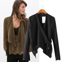 2014 summer new women tops European style linen suits big irregular hem cardigan lace blouses casual shirts blusas femininas
