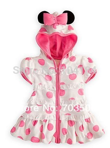 Venda quente do bebê 2014 Ver?o Minnie Mouse Outfit vestidos vestir Menina com capuz rosa de bolinhas do vestido do bebê infantil, frete grátis !(China (Mainland))