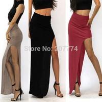 2014 Summer Sexy Women Long Skirts Lady Open Side Split Skirt Long Maxi Skirt  Free Size  Khaki  Black Wine Red