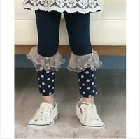 new 2014 children girl autumn winter navy blue pink half polka dot tulle ruffle leggings kids fashion cotton legging wholesale