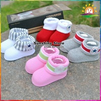 Sunshine Baby #7A54A3 20 pair/lot Newborn Baby Three-Dimensional Socks Solid Baby Sports Shoes Socks Cute Baby Booties with Box