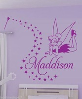 Customer-made tinkerbell vinly wall stickers kids children personalized  home decaration decor mural -You Choose Name and Color