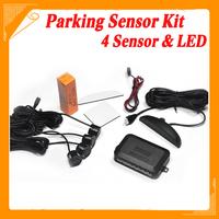 Car LED Parking Sensor Kit Display 4 Sensors 22mm 12V 7 Colors Reverse Assistance Backup Radar Monitor System Free Shipping