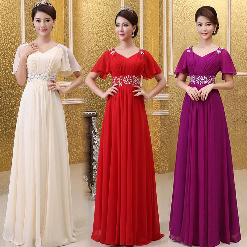 Han Édition princesse, toast mariée mariage robe robe de soirée v profond- cou, sac à bandoulière long formelle robes de bal