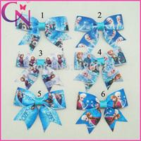 "Free Shipping 30 Pcs/lot 3"" Mini Frozen Bow For Baby,Small Ribbon Frozen Cheerleading Bow,Handmade Elsa&Anna Bow With Clip"