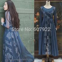 2014 Spring Summer Two-Piece Dress Mesh Lace Print Vintage Style O-Neck Maxi Dress Bohemian Long Dress Plus Size S- L MYB9593717