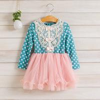 2014 New,girls lace princess dress,children autumn dot dress,long sleeve,bow,cotton,3 colors,5 pcs / lot,wholesale,1504