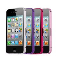 100pcs/lot Luxury 0.7mm Ultra thin Colored Aluminum Metal Blade Bumper Case For iPhone 4 4S
