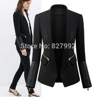 Women Brief Fashion 2014 New Autumn PU Patchwork Zipper Decorated Coat  Lady Slim Jacket Black