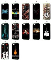 12 pcs/lot  Rock Music  Hard Plastic  Black  Case Cover For iphone 5 5S