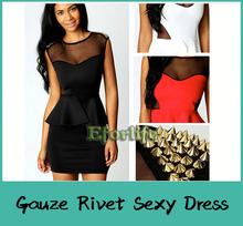 Verão 2014 moda sem mangas magro quadril gaze rebite Sexy clube vestidos Plus Size Peplum vestido Clubwear(China (Mainland))