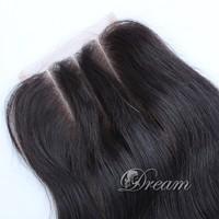 "Malaysian Virgin Hair Three Part Top Lace Closure 4*4 inch Human Hair Extensions 8""-20"" Silk Straight Stock UPS Free Shipping"