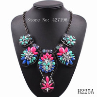 2014 new fashion brand hot sale women chain pendant statement necklace crystal chunky jewelry for ladies