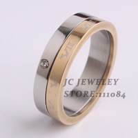 Rhinestone 2 in 1 Rome digital 316L Stainless Steel finger rings for men jewelry Free shipping wholesale