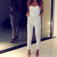 Sexy WomenV-neck tight Waist Jumpsuits White Evening Party Wear