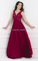 vw-101 2014 Sexy Plunging Neckline Cap Sleeve Appliques Party Dresses Floor Lengt Evening Dress For Sale