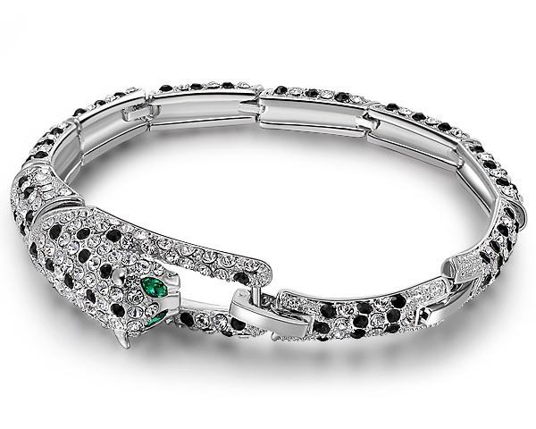 Austria Crystal Leopard Bracelet Gifts For Men Rock Dance Jewelry Women Party Dress Jewellery Animal Bracelets+Free Gift BSL0107(China (Mainland))