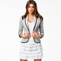 2014 New Blazer Women Fashion Women's Spring Autumn Slim Short Design Turn-down Collar Blazer Grey Short Coat Jackets for women