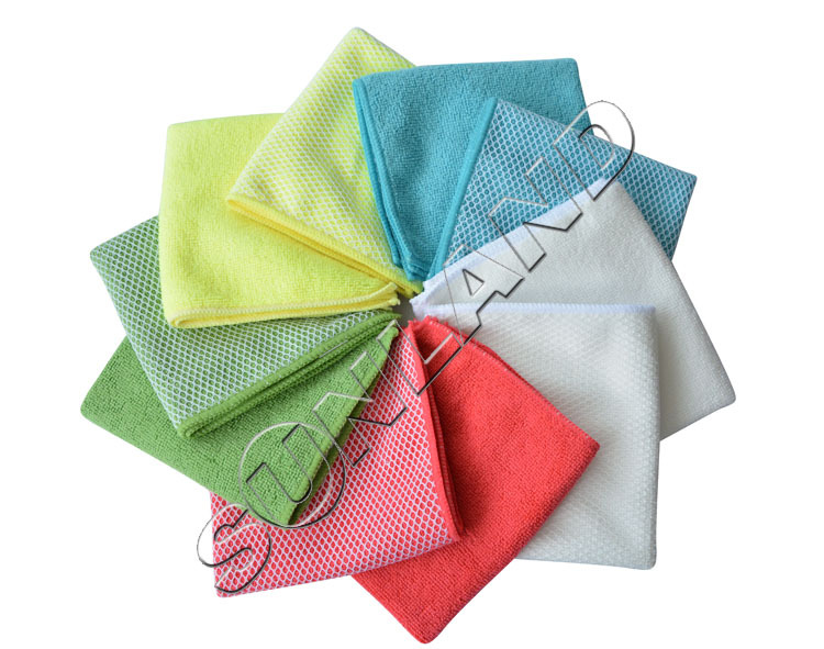 Sunland 10pcs 12x12Inch Kitchen Dish Cloth With Poly Scour Side Kitchen Dish Towels Cleaning Rag - Assorted Color(China (Mainland))