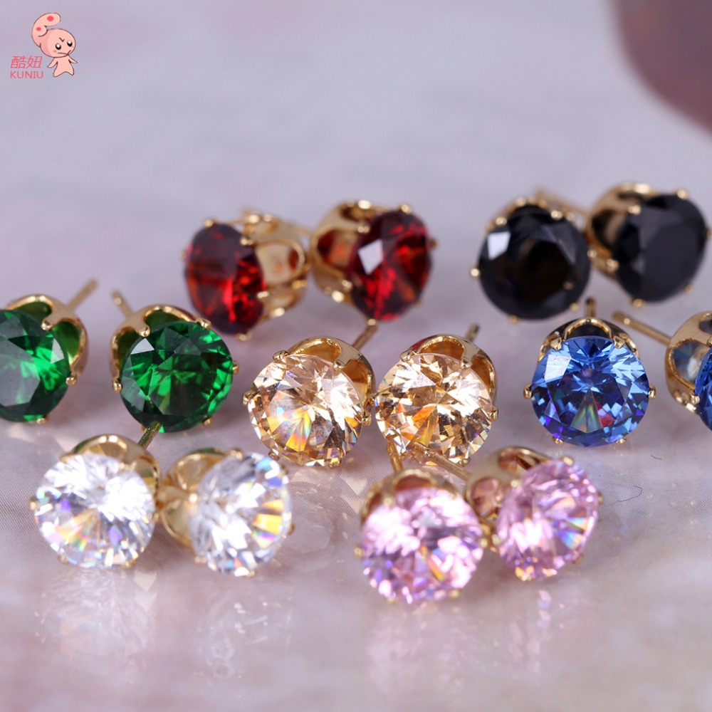 2014 New Fashion round favorite design 18 K gold plated stud earring for women KUNIU ERZ0269(China (Mainland))
