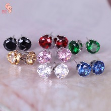 2014 New Fashion Round Favorite Design 18 K Gold Plated Studded Candy Crystals CZ Diamond Stud