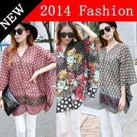Maternity 2014 New 5xl 6xl Plus size Clothing Chiffon Blouse Fashion Summer Autnmn Women Blouses Causal Blusas Femininas 84YM