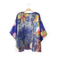 2014 Summer New Women Oriental Floral Printed Casual Kimono Lady Fashion Coat 4037306804