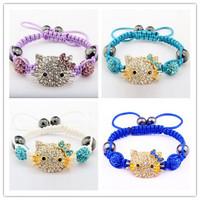 Free Shipping 10pcs Big Sale Hello Kitty Shamballa Bracelets & Bangles Pave Crystal  Ball Shamballa Bracelet Mix Colours Options