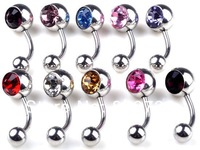 12Pcs Wholesale Bulk Belly Tongue Lip Crystal Stainless Steel Body Piercing Jewelery Navel Rings Free Shipping Fashion Jewelry