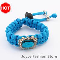 Min. Order $10,Fashion Bracelet 2014,Fancy Brand Jewelry Gift Charms handmade Woven Rhinestone Bracelets,B50