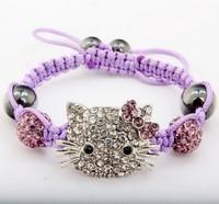 Free shipping new 10mm Hotsale Hello Kitty Micro Pave Disco Ball Beads Bangles Crystal Shamballa Bracelet jewelry Christmas Gift