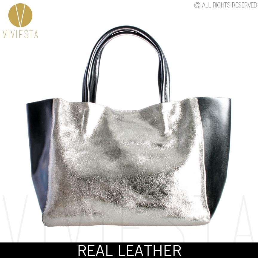 AliExpress.com Product - REAL GENUINE CRACKED LEATHER METALLIC TOTE SHOPPER BAG - Women's Gold Glitter Stylish Large Luggage Shoulder Cabas Bolsa Handbag