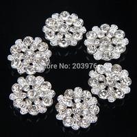 Set of 30pcs--22mm Crystal Rhinestone button - silver plating - flower centers - metal rhinestone button