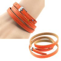 High-grade quality steel buckle leather strap bracelet with leather wrist band orange