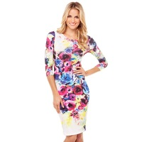 gorgeous floral casual print dresses women five length round neck slim elastic midi for wholesale and free shipping haoduoyi