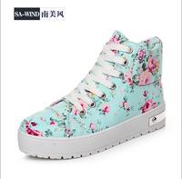 Fashion women flat shoes,women sneaker flower shoes,Canvas flat heel women hot shoes,Semi-Tall women spring and autumn shoes