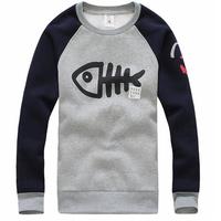 2014 New Arrival Men's Casual  Fashion Hoodie Big Fish Design Autumn Winter Wear Sweatshirt MWW207