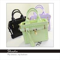 Brand designer michaelled women's leather handbags girls messenger bags desigual kros candy color rivet shoulder bag woman bolsa