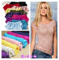 Women summer t shirt crop top t shirt women Fashion lace small short-sleeve all-match british style short-sleeve shirt X134t