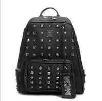 New TVXQ changmin wangfeizhengxiuwen star rivet medium backpack book bag Black