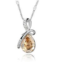 Lot 1Pcs Light Khaki Heart-ShapedCrystal Stone Luxurious Pendant Chain Women Necklace Gift Packaging