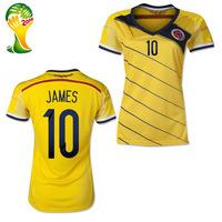 #10 James Rodriguez Colombia Women Jerseys 2014 World Cup Jerseys THAI Quality Home James Women Colombia Soccer Jersey Free Ship