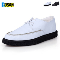 2014 Fashion Black PU leather Creepers Flats Hot Sale Lace up sneakers Flag Boat Shoes platform shoes free shipping