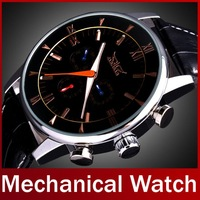 2014 New Fashion Brand Jaragar Genuine Leather Automatic Mechanical Self Wind Watches For Men Dress Wristwatch Complete Calendar