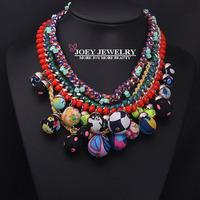 JOEY New arrival Unique Design Luxurious Color Multilayer Gems Necklaces Cotton Ball women Necklaces Pendants FreeShipping