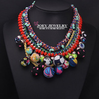 JOEY New arrival Unique Design Luxurious Color Multilayer Gems Necklaces Cotton Ball women Necklaces Pendants FreeShipping